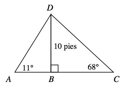 Triángulo A C D, con segmento desde el vértice superior, D, hasta el lado inferior, A C en el punto rotulado B; segmento D B, rotulado 10 pies, ángulo a, rotulado 11 grados, ángulo D B C, rotulado ángulo rectángulo, ángulo c, rotulado 68 grados.