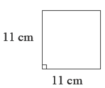 A square with side length of 11 centimeters.