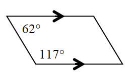 A quadrilateral with two parallel horizontal sides has a lower left angle of 117 degrees and an upper left angle 62 degrees.