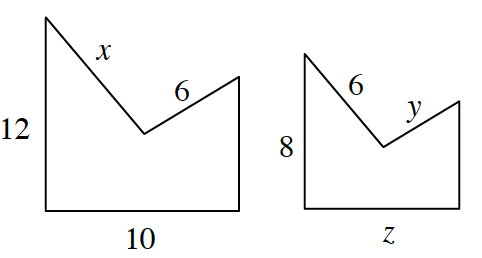 2 5-sided similar figures. Starting at the base and going clockwise, the larger figure has sides, 10, 12, x, 6, unknown. For the smaller figures, the sides are, z, 8, 6, y, and unknown.