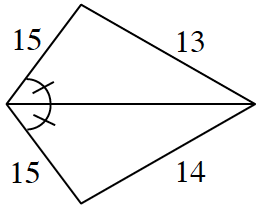 Triangle labeled as follows: left side, 15, right side, 13, left base angle, one tick mark. A second triangle, whose top side, is the same as the bottom side of the first triangle, labeled as follows: left side, 15, right side, 14, left top angle, one tick mark.
