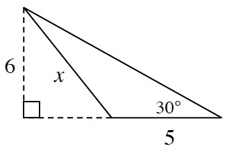 An obtuse triangle where two sides are x, and the base, 5. The angle between them is obtuse. The angle opposite the side, x, is 30 degrees. The base is extended outside the triangle and a line is dropped from the vertex opposite base, 5, perpendicular to the base. That height is, 6.