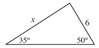 Triangle labeled as follows: left side, x, right side, 6, bottom left angle, 35 degrees, bottom right angle, 50 degrees.