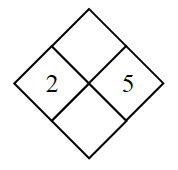 Diamond Problem. Left 2, Right 5, Top blank,  Bottom blank