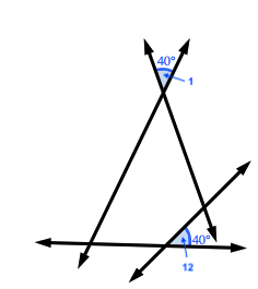 4 intersecting lines, first is horizontal on the bottom, second & third are each increasing, at different slants, fourth is decreasing, intersecting the second and third, top angle of the second & fourth line intersection is labeled 40 degrees, at the intersection of the third & horizontal lines, label right of third & above horizontal, is also labeled 40 degrees.