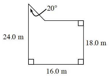 An enclosed figure of a rectangle with a right triangle connected at the top left corner. The top angle of the triangle is 20 degrees. The length of the rectangle is 16.0 m. The width of the rectangle on the right side is 18.0 m. The width of the rectangle on the left side with the addition of the triangle is 24.0 m.