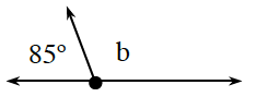 3 rays have the same starting point, left ray is horizontal, middle ray slants up and left, right ray is horizontal, with gap between rays, labeled as follows: left and middle, 85 degrees, middle and right, b.
