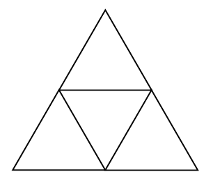 The shape of an equilateral triangle. It has a smaller equilateral triangle in the center, which was made by joining the midpoints of the three edges.
