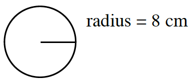 A circle labeled, radius = 8 cm.