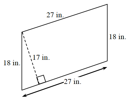 A parallelogram, slanted right, with bottom and top sides, each 27 inches. Left and right sides are each 18 inches. A line segment of 17 inches, drawn from the top left vertex, to the bottom side, at a 90 degree angle to the bottom.