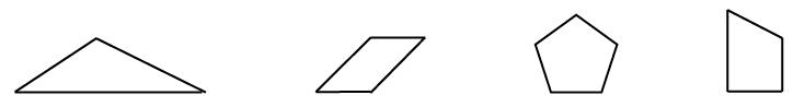1-4 Shapes: trianlge, parallelogram, pentagon, irregular pentagon