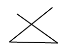 A triangle where two of the lines extend past the same vertex