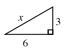 A right triangle labeled as follows: legs, 6, and 3, hypotenuse, x.