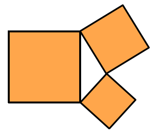 The smallest and middle sized squares from the previous image, are slanted, so one vertex from each square, touches a vertex from the large square, and the 2 squares each have one vertex, touching each other. The interior triangle formed is not very wide.