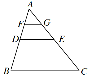 A triangle A, B, C with a midpoint D on A, B, and a midpoint E on A, C creating triangle A, d, E. F is the midpoint of A, D, and G is the midpoint on A, E creating triangle A, G, F.