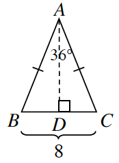 Triangle A, B, C. A line is drawn from vertex A  perpendicular to side B, C at point, D.  Side B, Chas a length of 8.  Angle B, A, C is 36 degrees.  Sides A, B and Side A, C have 1 tick mark.