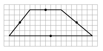 An enclosed trapezoid is drawn. Right 6, diagonally down, 5, and right, 6, left, 16, diagonally up, 5, right 4 to enclose the figure. A point is shown marking the midpoint of each side.