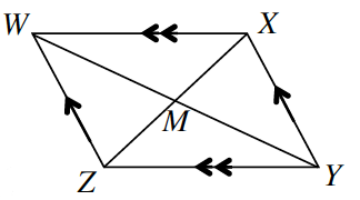 Parallelogram W, X, Y, Z with two diagonals inside intersecting at point M. Side W, Z and side X ,Y are both marked with one arrow. Side W, X and side Z, Y are both marked with two marks.