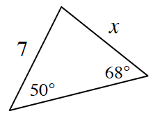 A triangle with side lengths, 7, and, x. The angle opposite the side, x, is 50 degrees. The angle opposite the side, 7, is 68 degrees.