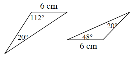 Two obtuse triangles. First triangle has a side length of 6 centimeters and an 20 degrees angle opposite that side. The obtuse angle is 112 degrees.  Second triangle has a side length of 6 centimeters and a 20 degree angle opposite that side.  The other acute angle is 48 degrees.