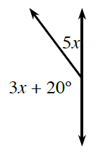 Two adjacent angles together form a line. The angle on the left is 3 x + 20 degrees. The angle on the right is 5 x degrees.