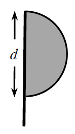 Semicircle on the right side of a pole