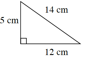 A right triangle with a base of 12 centimeters, height 5 centimeters, and hypotenuse 15 centimeters.