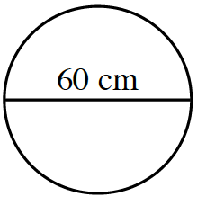 A circle with line segment, going across the circle through the center, labeled 60 cm.