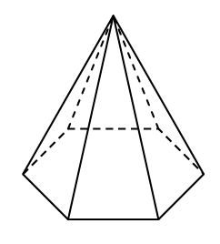 A hexagon, with all sides the same, is the base. Isosceles triangles, whose bottom edges share, the edges of the hexagon, slant up so that all their top vertices met at the top of the pyramid.