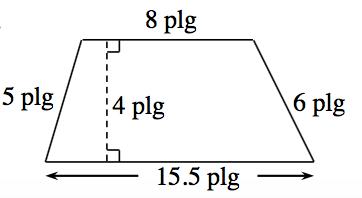 Trapecio con las bases paralelas horizontales, con los lados rotulados como sigue: izquierdo, 5 pulgadas; arriba, 8 pulgadas; derecho, 6 pulgadas; abajo, 15.5 pulgadas. Hay una línea punteada, rotulada 4 pulgadas, perpendicular a ambas bases.