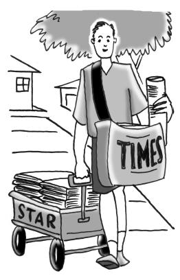 Boy delivering newspapers.