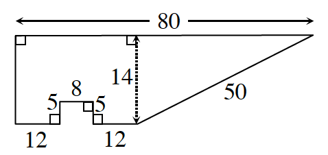 A right trapezoid with the long  base on top.  A small rectangle is removed from the lower base within the trapezoid. Measurements are as follows going clockwise from the upper left corner: 80 to the right, 50 diagonally downward to the left. 12 left, 5 up, 8 left, 5 down, 12 left, 14 up to enclose the trapezoid.