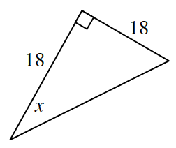 A right triangle with legs 18 and 18 and 1 angle, labeled, x.