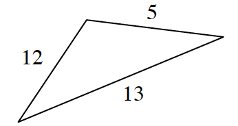A triangle with sides, 13, 12, and 5.