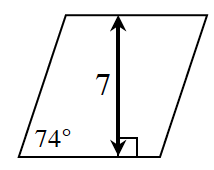 A rhombus where the height is 7 and one of the angles is 74 degrees.