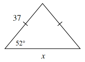 A triangle with two side lengths 37 and x and one angle of 52 degrees between the two sides. The side of 37 and the unlabeled side are both marked with one tick mark.
