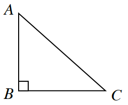 Right triangle, A,B,C, angle, B, is right angle.