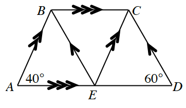 Trapezoid A, B, C, D. Point E is made on side A, D. Point E is the vertex for a triangle B, E, C within the trapezoid. Angle A is 40 degrees and angle D is 60 degrees. Side A, B is parallel to side C, E. Side B,E is parallel to side C D. Side A, E is parallel to side B, C.