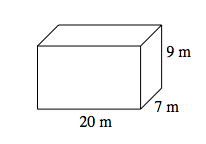 A rectangular prism labeled as follows: length, 20 meters, width, 7 meters, and height, 9 meters.