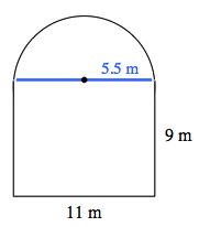 A line is drawn, across the top of the rectangular part, of the arch, with a point in the center. The portion, from the point to the right edge, is labeled 5.5 meters.