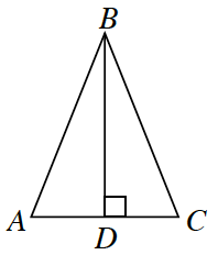 Triangle A, B, C. Two internal triangles are created by a line segment A, D drawn from the upper vertex to the base at right angles.