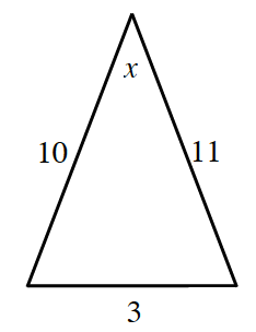 Triangle, labeled as follows: right side, 11, left side, 10, bottom side, 3, top angle, x.