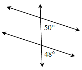 A transversal line that cuts two horizontal parallel lines. About the point of intersection of top parallel line and the transversal is the interior right angle, 50 degrees. About the point of intersection of bottom parallel line and the transversal is the exterior right angle, 48 degrees.