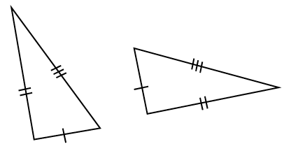 Two triangles, left triangle tilted up & left, bottom side, has 1 tick mark, left side, 2 tick marks, right side, 3 tick marks. Right triangle, tilted right & slightly up, with left side, 1 tick mark, bottom side, 2 tick marks, top side, 3 tick marks.
