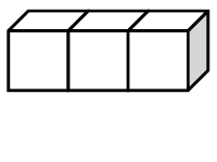 Three cubes side by side in a row, with the front, top, and right side visible.