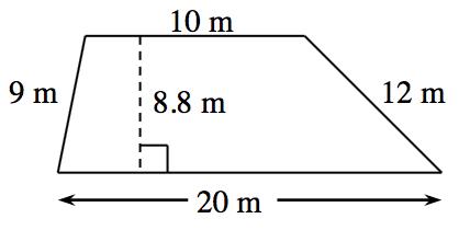 Trapecio con las bases paralelas horizontales, la de abajo mide 20 metros y la de arriba mide 10 metros; los lados no paralelos miden 9 metros y 12 metros. Una línea punteada, rotulada 8.8 metros, conecta las bases perpendicularmente.