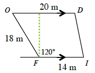 A quadrilateral O, D, I, F where side O, D and side F, I are parallel. Side O, D is 20 meters. Side F, I is 14 meters.  Side O, F is 18 meters.  Angle F, is 120 degrees. A dashed line from F goes upward perpendicularly to side O, D.