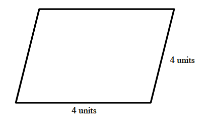 A parallelogram, slanted right, with the bottom and right side labeled 4 units.