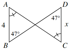 Line segments A, C and B, D intersect forming 2 triangles, A, B, and point of intersection and D, C, and point of intersection.  Side A, B is 4.  Side D, C is, x. Angle B and Angle D are both 47 degrees. Angles, A, and C, both have 1 tick mark.