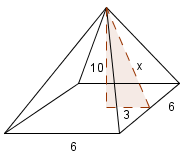 Square pyramid, with dashed right triangle. Vertical leg, labeled, 10, from top vertex, to center of base, Horizontal leg, labeled, 3, from center, to middle point on right edge of base, Hypotenuse, labeled, x, from vertex, to middle point on right edge of base.